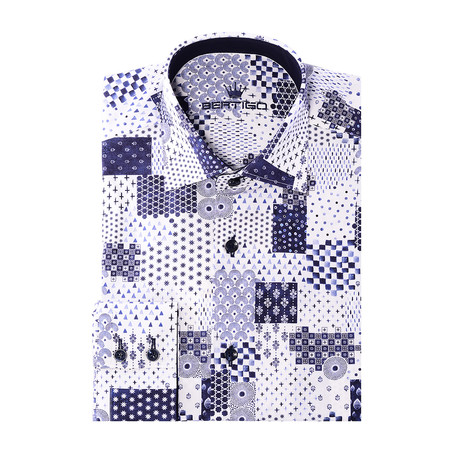 Angelo Button-Up // Patch Print Design // White (XS)