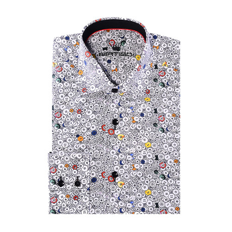 Bebeto Button-Up // Buttons Print // Red Multicolor (XS)
