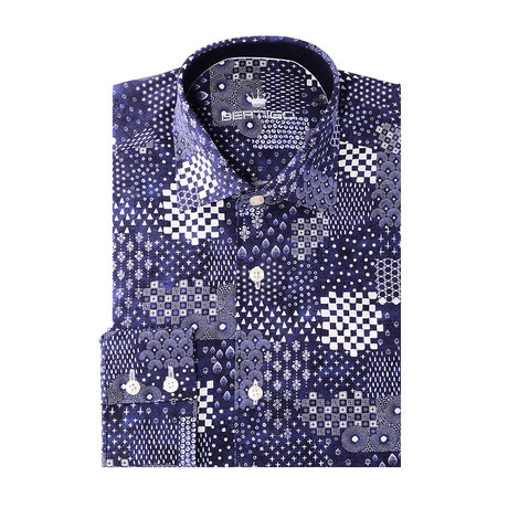 Angelo Button-Up // Patch Print Design // Navy (XS)