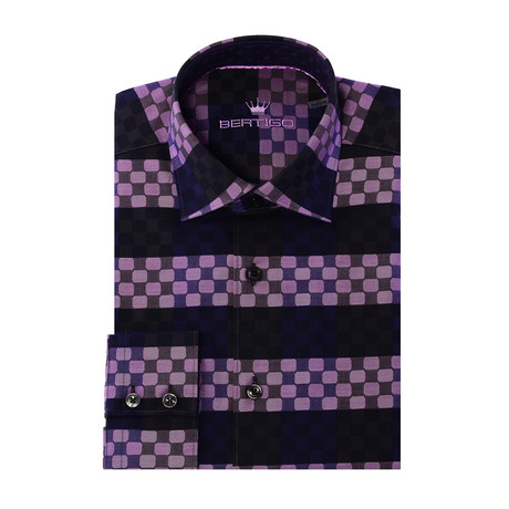 Conti Button-Up // Stripe Circle Design // Purple (XS)