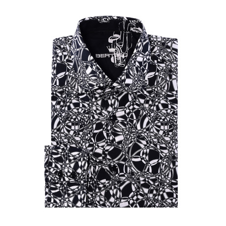 Dean Button-Up // Modern Cut Abstract Graphic Print // Black (XS)