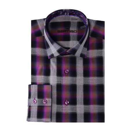 Emilio Button-Up // Gradient Plaid // Purple (XS)