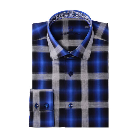 Emilio Button-Up // Gradient Plaid // Navy (XS)