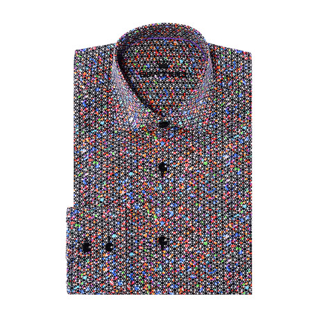 Luis Button-Up // Graphic Abstract Print // Orange Multicolor (XS)