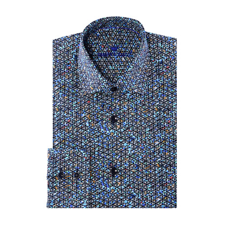 Luis Button-Up // Graphic Abstract Print // Turquoise Multicolor (XS)