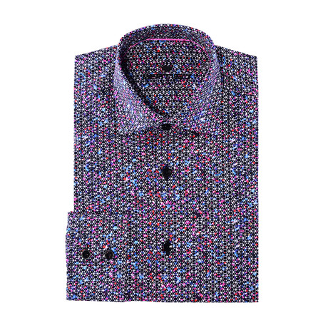 Luis Button-Up // Graphic Abstract Print // Pink Multicolor (XS)