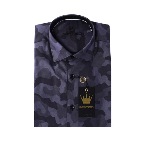 ADDesign Short Sleeve Button-Up // Camo Print // Black + Gray (XS)