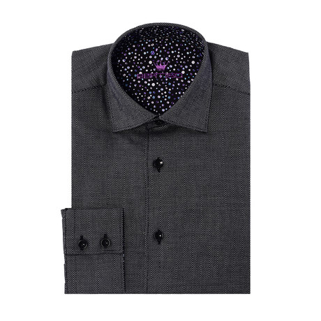 David Button-Up-Solid Graphic Print // Gray (XS)