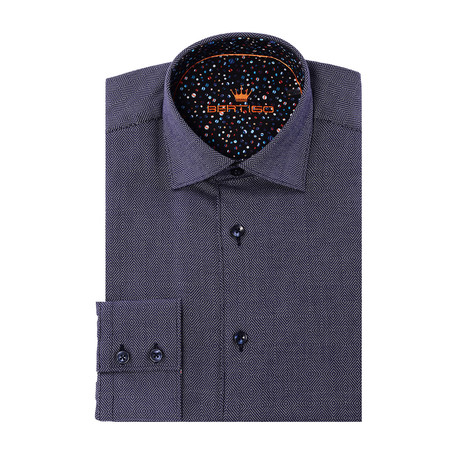 David Button-Up // Solid Graphic Print // Navy (XS)