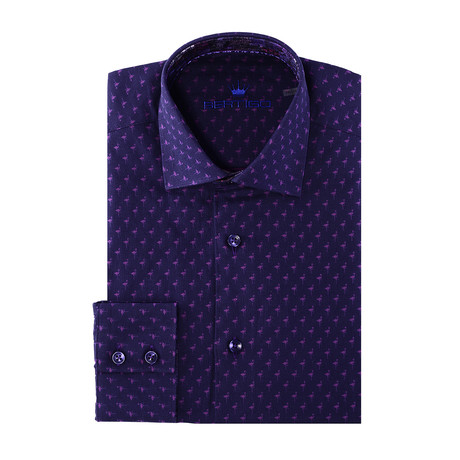 Gino Button-Up // Flamingo Print // Purple (XS)