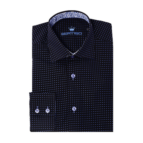 Inzaghi Button-Up // Solid Black + Blue Dots (XS)