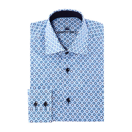 Kaka Button-Up // Dotted Design Print // Blue Multicolor (XS)