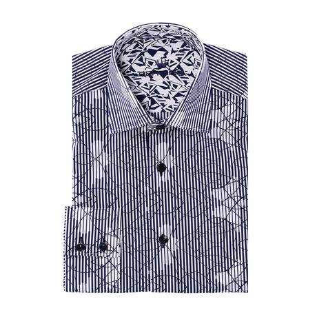 Petit Button-Up // Abstract Design Print Poplin // White + Navy (XS)