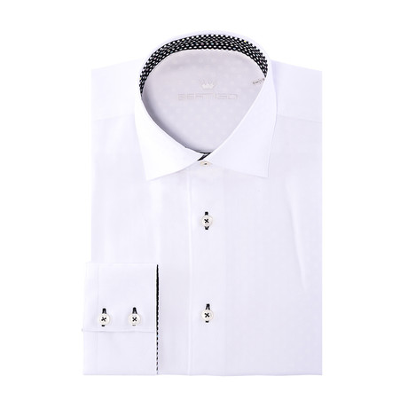Villa Button-Up // Solid Light Dotted // White (XS)