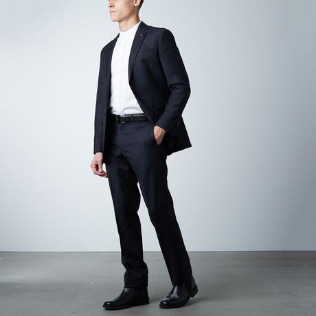 Notch Lapel Suit // Black + Navy Pinstripe (US: 40R)
