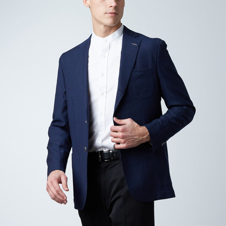 Notch Lapel PS Jacket // Navy Blue Basket Weave (US: 36S)