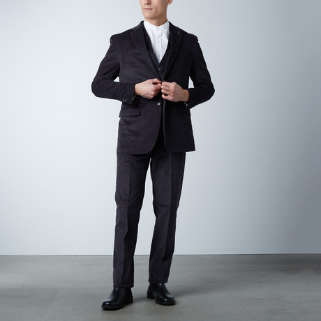 Notch Lapel Pick Stitch Vested Suit// Charcoal Marled (US: 36S)