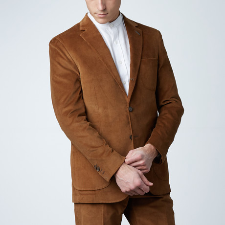 Notch Lapel Patch Chest Pocket Jacket // Brown Corduroy (US: 36S)
