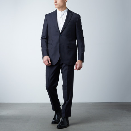 High Peak Lapel Suit // Dark Navy Tattersall (US: 36S)