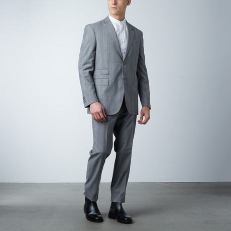 Notch Lapel Jacket // Light Gray Chalk Stripe (US: 36S)