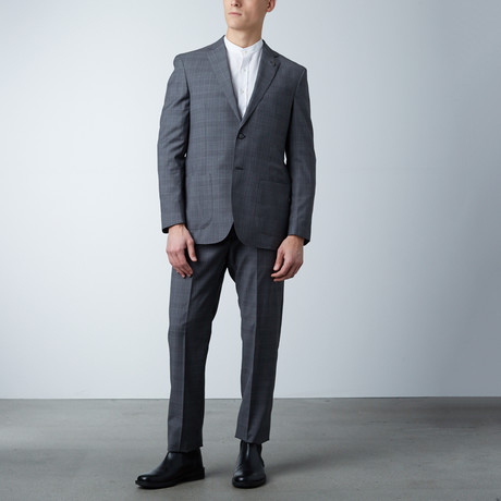Notch Lapel Suit // Gray Tartan Plaid (US: 36S)