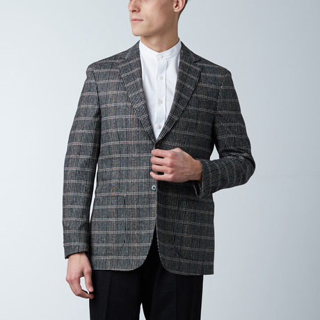 Notch Lapel Jacket // Black + Multicolor Tartan Plaid (US: 36S)