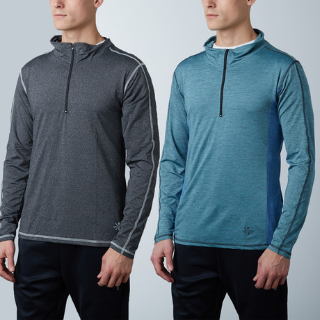 Parry Fitness Tech Pullover // Marbled Blue + Charcoal // Pack of 2 (XS)