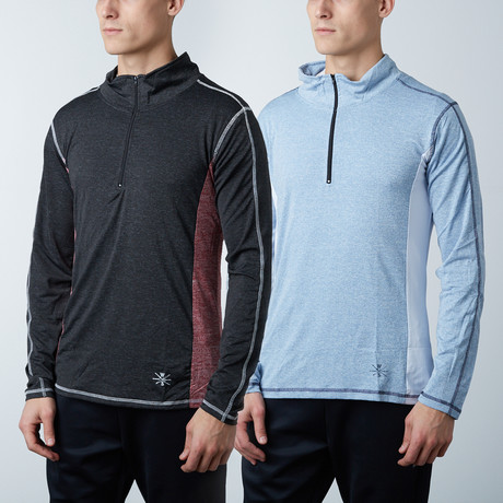 Parry Fitness Tech Pullover // Black + Blue // Pack of 2 (XS)