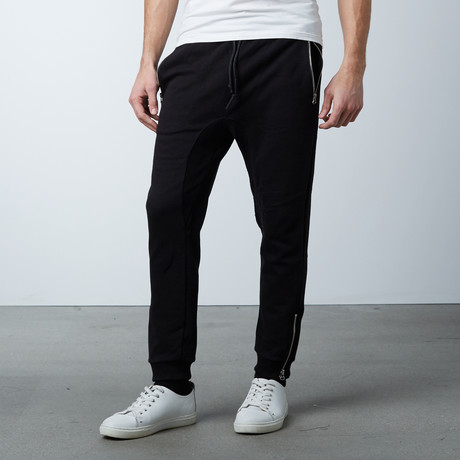 French Terry Knit Jogger + Zipper Pocket // Black (S)