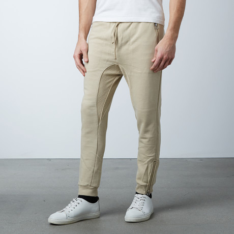 French Terry Knit Jogger + Zipper Pocket // Sand (S)