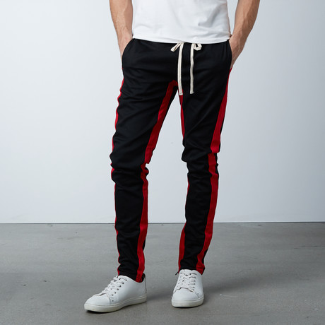 Striped Track Pant // Black + Red (S)