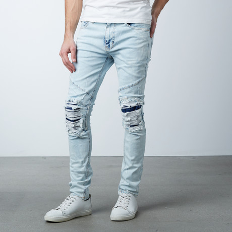 Leather Knee Patch Overdyed Jeans // Ice Blue (30WX32L)
