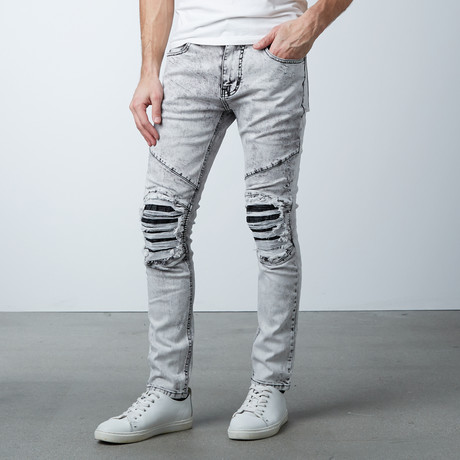 Leather Knee Patch Overdyed Jeans // Ice Gray (30WX32L)