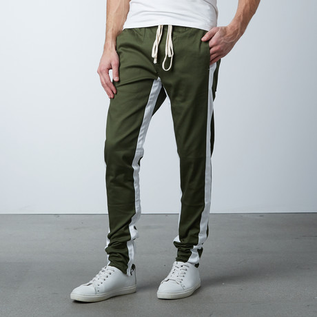 Striped Track Pant // Olive + White (S)