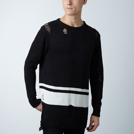 Distressed Striped Elongated Sweater // Black (S)