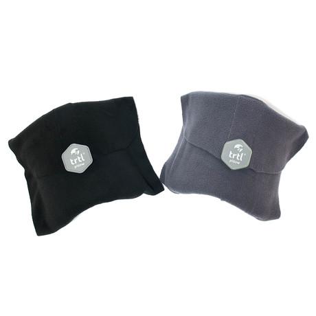 Set of 2 Travel Pillows // Grey + Black