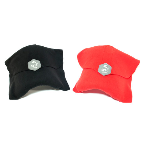 Set of 2 Travel Pillows // Black + Red