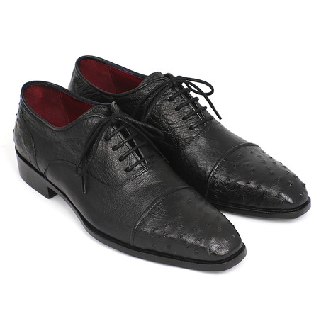 Genuine Ostrich Cap-toe Oxfords // Black (Euro: 38)