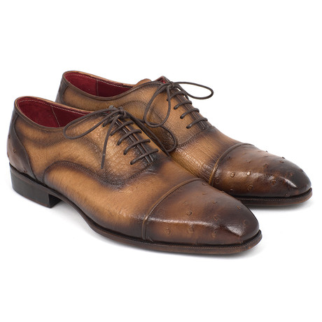 Genuine Ostrich Captoe Oxfords // Camel (Euro: 38)