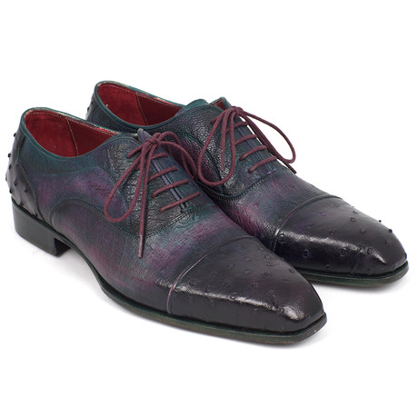Genuine Ostrich Captoe Oxfords // Purple (Euro: 38)