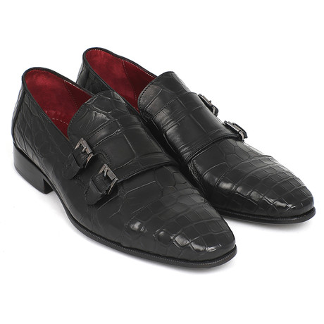Genuine Crocodile Double Monkstraps // Black (Euro: 38)