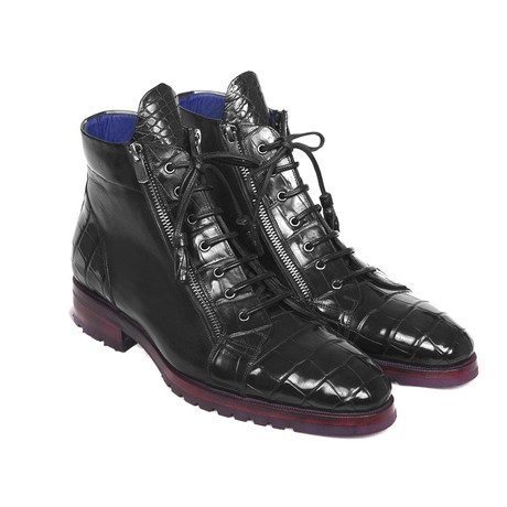 Genuine Crocodile + Calfskin Side Zipper Boots // Black (Euro: 38)