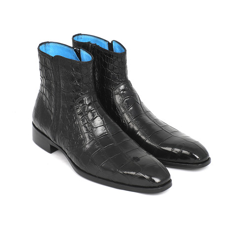 Genuine Crocodile Side Zipper Boots // Black (Euro: 38)