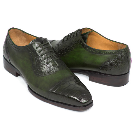 Genuine Crocodile + Calfskin Oxfords // Green (Euro: 38)