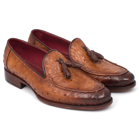 Genuine Ostrich Tassel Loafers // Camel Brown (Euro: 38)