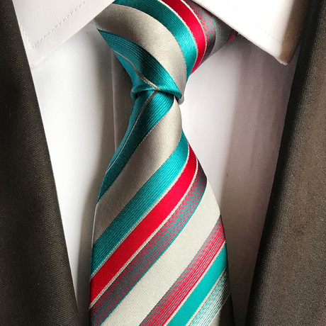 Leitner Tie // White + Green + Red