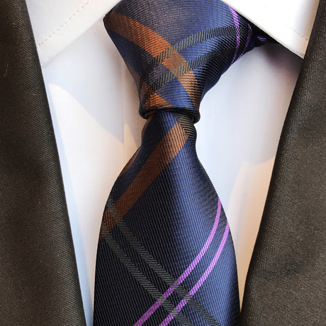 Berger Tie // Navy + Purple + Orange