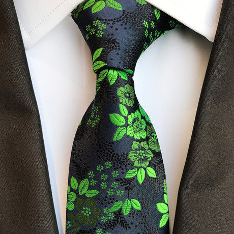 Schmid Silk Tie // Black + Green