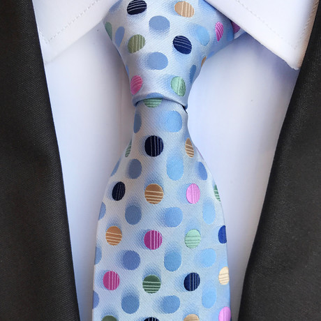Monaco Silk Tie // Light Blue + Pink + Yellow
