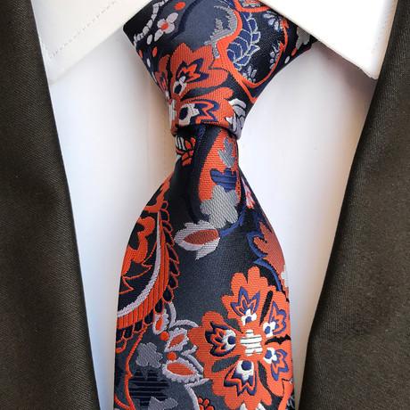 Lang Tie // Black + Navy + Orange